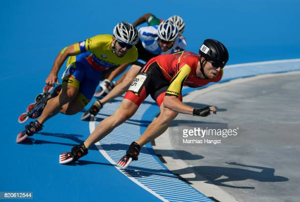 Simon Albrecht of Germany leads the field during the Speed Skating Men's 500m Quarterfinals of The World Games at Millenium Park on July 22 2017 in...