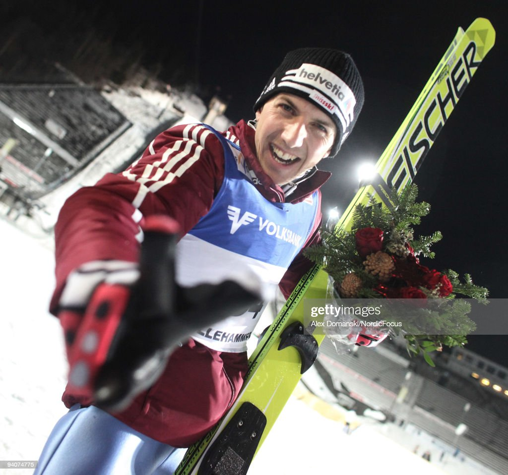 Simon Ammann of Switzerland celebrates after winning the Ski Jumping HS 138 event during day two of the FIS World Cup on December 6, 2009 in Lillehammer, Norway.