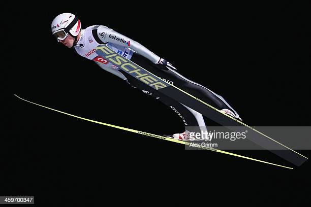 Simon Ammann of Switzerland competes during the first round on day 2 of the Four Hills Tournament Ski Jumping event at SchattenbergSchanze on...