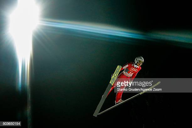 Simon Ammann of Switzerland competes during the FIS Nordic World Cup Four Hills Tournament on January 6 2016 in Bischofshofen Austria