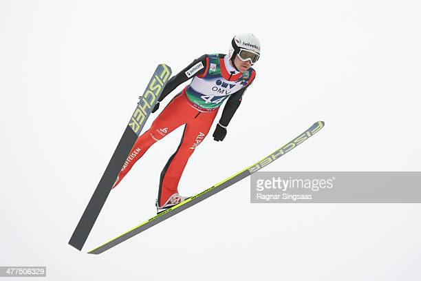 Simon Ammann of Switzerland competes during the FIS Ski Jumping World Cup Men's HS134 on March 9 2014 in Oslo Norway
