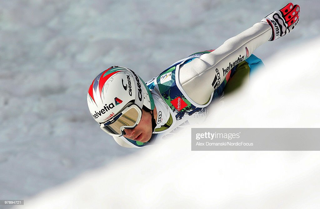Simon Ammann of Switzerland competes during the individual event of the Ski jumping World Championships on March 20, 2010 in Planica, Slovenia.