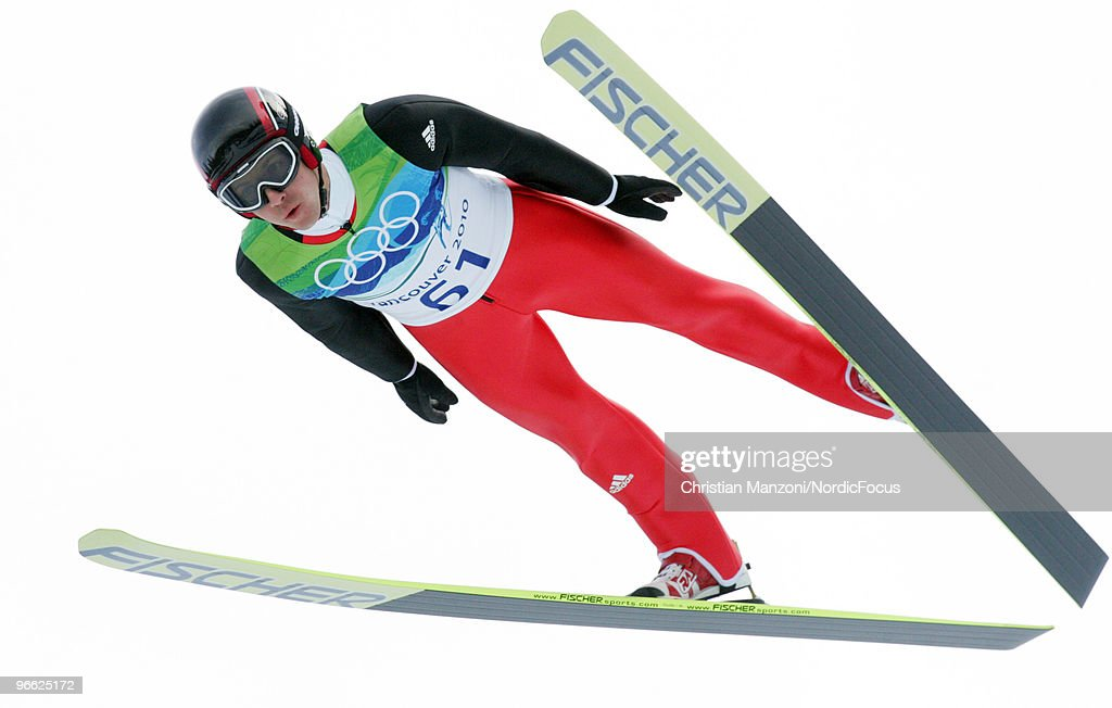 Simon Ammann of Switzerland competes during the Ski Jumping Normal Hill Individual Qualification Round at the Olympic Winter Games Vancouver 2010 ski jumping on February 12, 2010 in Whistler, Canada.