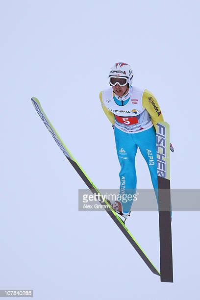 UARY 01 Simon Ammann of Switzerland competes during the trial round for the FIS Ski Jumping World Cup event at the 59th Four Hills ski jumping...