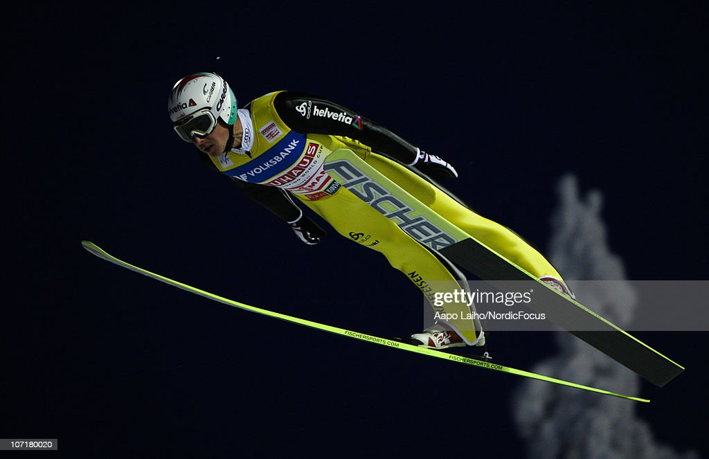 Simon Ammann of Switzerland competes in the individual HS142 during the FIS Ski Jumping World Cup on November 28, 2010, in Kuusamo, Finland.