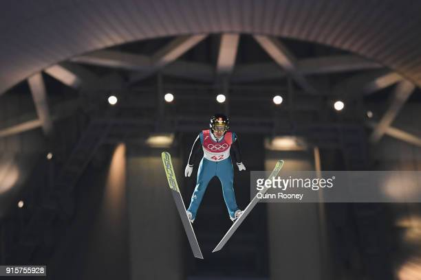 Simon Ammann of Switzerland competes in the Men's Normal Hill Individual Qualification at Alpensia Ski Jumping Centre on February 8 2018 in...