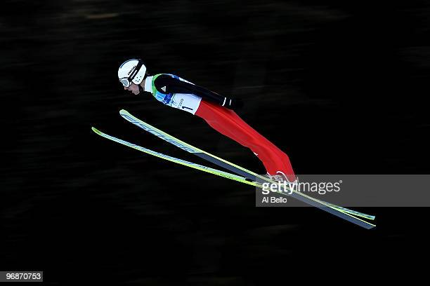 Simon Ammann of Switzerland competes in the men's ski jumping large hill individual trial qualification on day 8 of the 2010 Vancouver Winter...