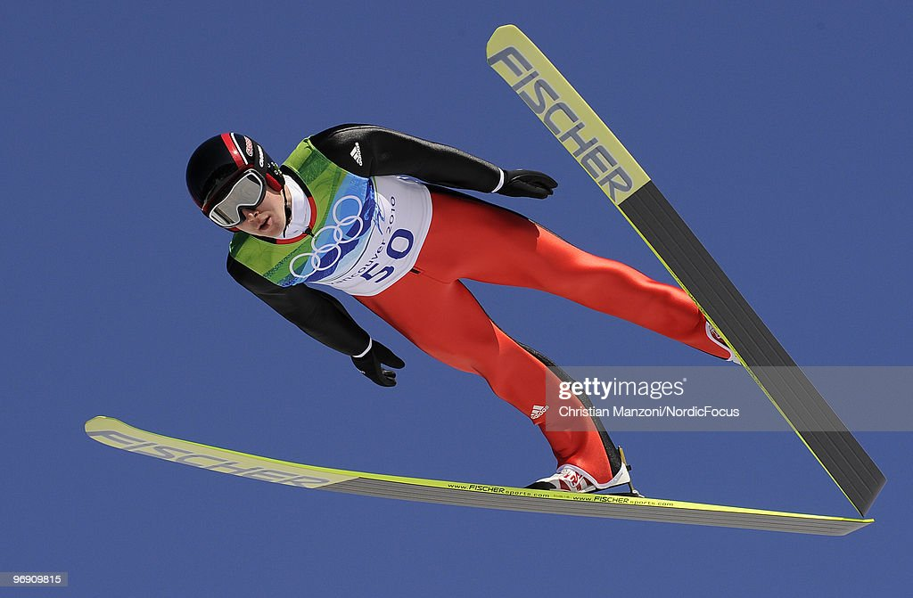 Simon Ammann of Switzerland competes in the men's ski jumping large hill individual competition on day 9 of the 2010 Vancouver Winter Olympics at Ski Jumping Stadium on February 20, 2010 in Whistler, Canada.