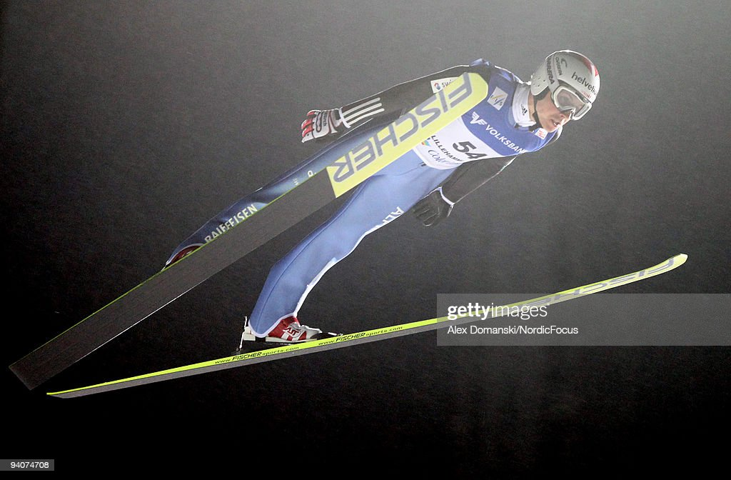 Simon Ammann of Switzerland competes Ski Jumping HS 138 event during day two of the FIS World Cup on December 6, 2009 in Lillehammer, Norway.