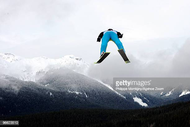 Simon Ammann of Switzerland during the Ski Jumping Individual NH Qualifications on Day 1 of the 2010 Vancouver Winter Olympic Games on February 12...