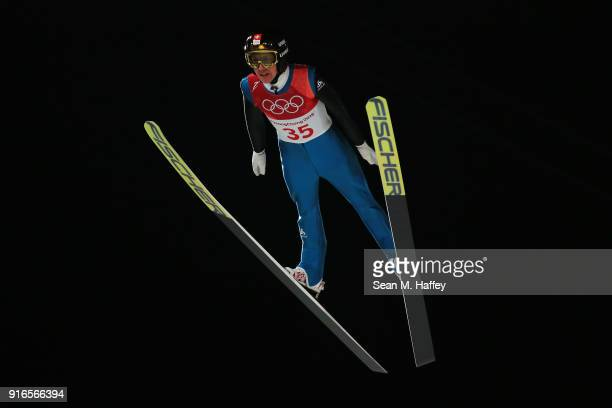 Simon Ammann of Switzerland jumps during the Ski Jumping Men's Normal Hill Individual Final on day one of the PyeongChang 2018 Winter Olympic Games...