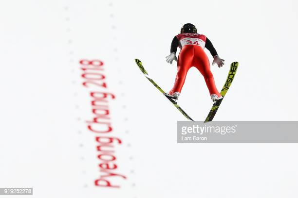 Simon Ammann of Switzerland makes a jump during the Ski Jumping Men's Large Hill on day eight of the PyeongChang 2018 Winter Olympic Games at...
