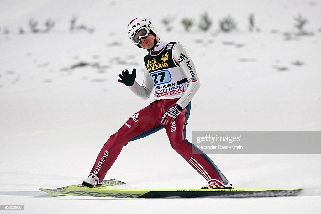 Simon Ammann of Switzerland reacts after first round for the FIS Ski Jumping World Cup event of the 58th Four Hills ski jumping tournament on January 6, 2010 in Bischofshofen, Austria.