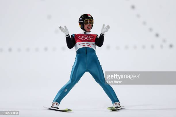 Simon Ammann of Switzerland reacts after landing a jump during the Ski Jumping Men's Normal Hill Individual Final on day one of the PyeongChang 2018...