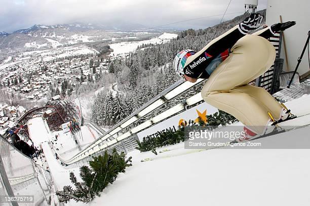 Simon Ammann of Switzerland skis during the FIS Ski Jumping World Cup Vierschanzentournee on December 30, 2011 in Oberstdorf, Germany.