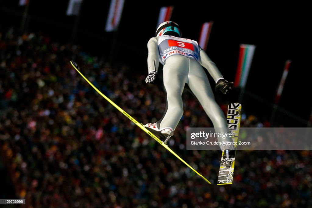 Simon Ammann of Switzerland takes 1st place during the FIS Ski Jumping World Cup Vierschanzentournee (Four Hills Tournament) on December 29, 2013 in Oberstdorf, Germany.