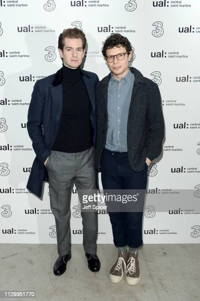 Simon Amstell and Andrew Garfield attend the Three Fashion Fuelled by 5G After Party following the Central St Martins MA Show during London Fashion...
