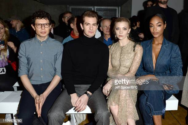 Simon Amstell Andrew Garfield Natalie Dormer and Jourdan Dunn attend the Central Saint Martins MA show during London Fashion Week February 2019 on...