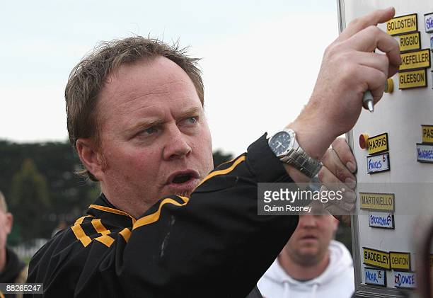 Simon Atkins the coach of Werribee gives instructions during the round nine VFL match between the Casey Scorpions and the Werribee Tigers at Casey...