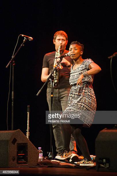 Simon Attwell and Zolani Mahola of Freshlyground perform on stage for Mandela Day Concert at Edinburgh Jazz Blues Festival at Festival Theatre on...