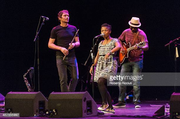 Simon Attwell Zolani Mahola and Julio Gugs Sigaque of Freshlyground perform on stage for Mandela Day Concert at Edinburgh Jazz Blues Festival at...