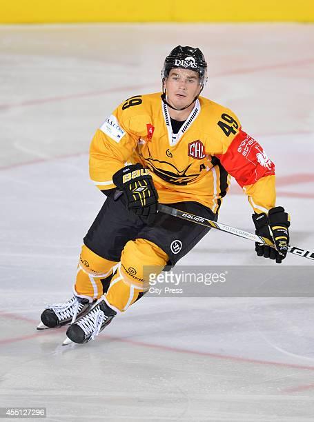 Simon Backman of SaiPa Lappeenranta in action during the Champions Hockey League game between ERC Ingolstadt and SaiPa Lappeenranta on august 23,...
