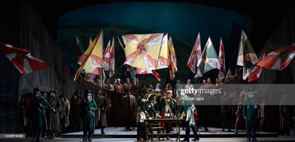 Simon Bailey as Kutuzov with artists of the company in Welsh National Opera's Production Of Prokofiev's War And Peace directed by David Pountney and conducted by Tomas Hanus at Wales Millennium Centre on September 11, 2018 in Cardiff, Wales.