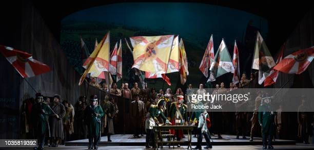 Simon Bailey as Kutuzov with artists of the company in Welsh National Opera's Production Of Prokofiev's War And Peace directed by David Pountney and...