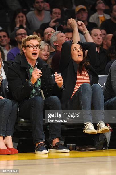 Simon Baker and Rebecca Rigg attend a game between the Indiana Pacers and the Los Angeles Lakers at Staples Center on January 22, 2012 in Los...