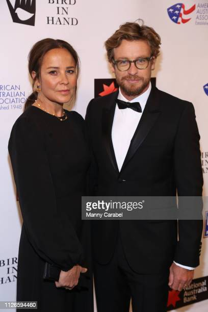 Simon Baker and Rebecca Rigg attend the 2019 American Australian Arts Awards at Skylight Modern on January 31 2019 in New York City