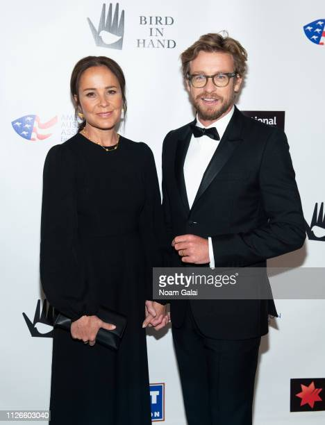 Simon Baker and Rebecca Rigg attend the 2019 American Australian Arts Awards at Skylight Modern on January 31, 2019 in New York City.