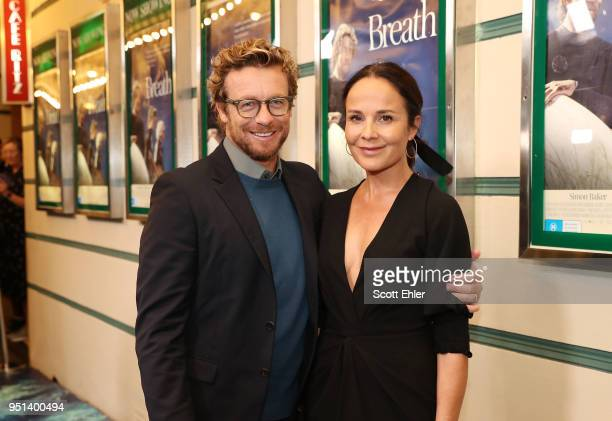 Simon Baker and Rebecca Rigg attend the Breath Sydney Red Carpet Premiere at The Ritz Cinema on April 26 2018 in Sydney Australia