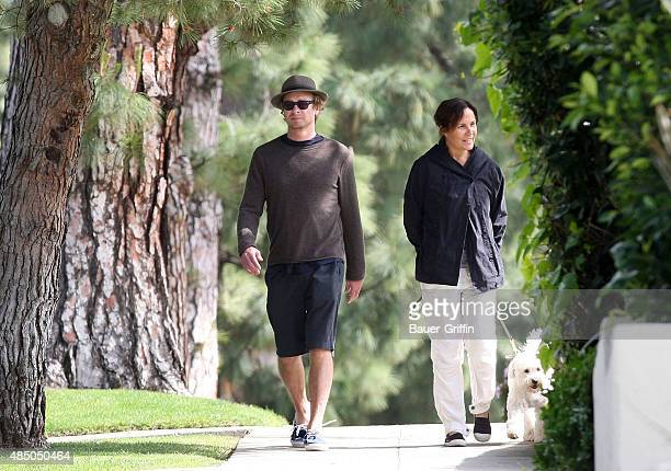 Simon Baker and wife Rebecca Rigg are seen walking their dog on March 13 2011 in Los Angeles California