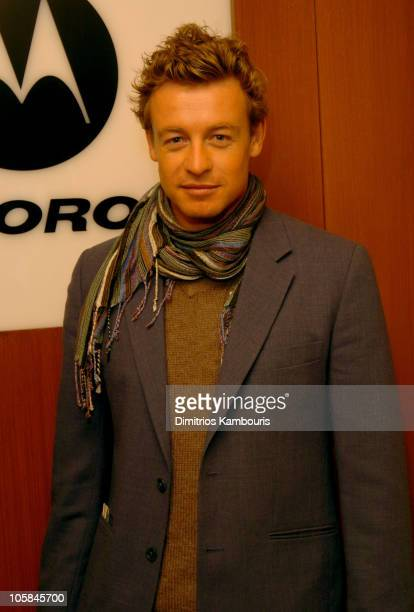 Simon Baker in front of Motorola display during 2004 Park City Motorola Lodge at Motorolla House in Park City Utah United States