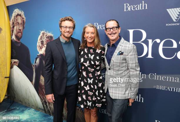 Simon Baker Layne Beachley and Kirk Pengilly attends the Breath Sydney Red Carpet Premiere at The Ritz Cinema on April 26 2018 in Sydney Australia