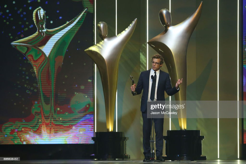Simon Baker wins the Trailblazer Award during the 7th AACTA Awards Presented by Foxtel | Ceremony at The Star on December 6, 2017 in Sydney, Australia.