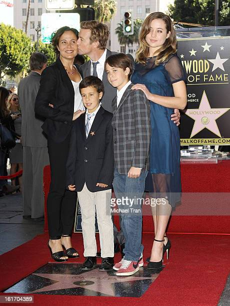 Simon Baker with his family attend the ceremony honoring him with a Star on The Hollywood Walk of Fame held on February 14 2013 in Hollywood...