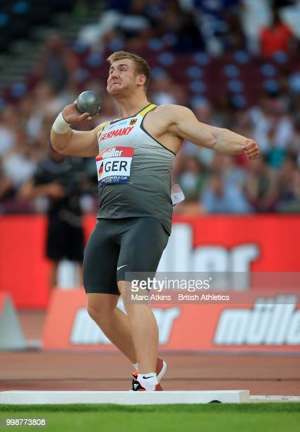 Simon Bayer of Germany competes in the Men's Shot Put during day one of the Athletics World Cup London at the London Stadium on July 14, 2018 in...