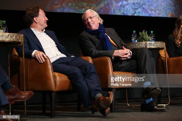 Simon Beaufoy and Donald Sutherland speak onstage during the For Your Consideration Event for FX's 'Trust' at Saban Media Center on May 11 2018 in...