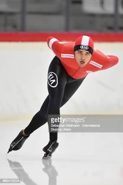 Simon Bigler of Switzerland performs during the Men 1500 Meter at the ISU ISU Junior World Cup Speed Skating at Max Aicher Arena on November 26 2017...