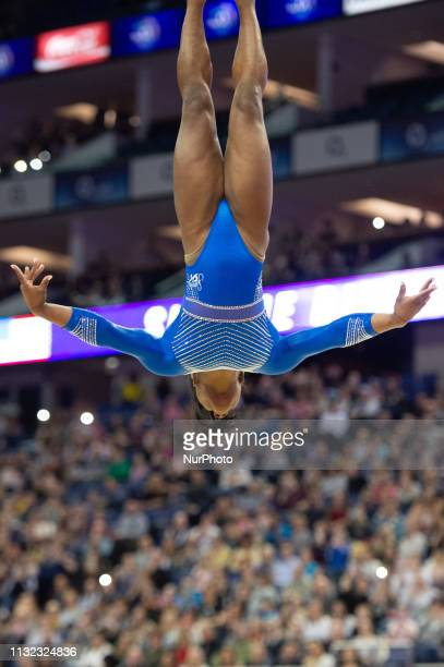 Simon Biles USA Olympics gold medallist performs her floor routine at the Superstars of Gymnastics Event at the O2 Arena Greenwich on Saturday 23rd...
