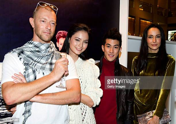 Simon Birch Ana R Aarif Lee and Lisa S attend the Pringle Of Scotland Hong Kong store opening cocktail party and exhibition at Landmark Central on...
