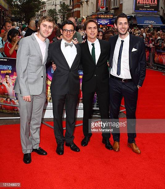 Simon Bird, Joe Thomas, James Buckley and Blake Harrison attend the premiere of Inbetweeners at Vue Leicester Square on August 16, 2011 in London,...
