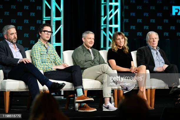 Simon Blackwell, Chris Addison, Martin Freeman, Daisy Haggard, and Michael McKean of 'Breeders' speak during the FX segment of the 2020 Winter TCA...