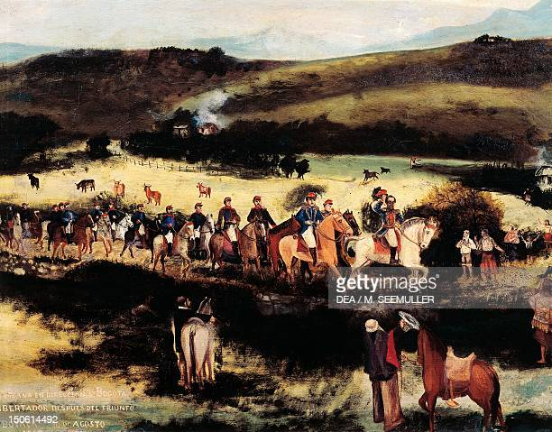 Simon Bolivar and Francisco de Paula Santander recapture Bogota after Boyaca's victory in August 1819, painting by Francisco de Paula Alvarez....