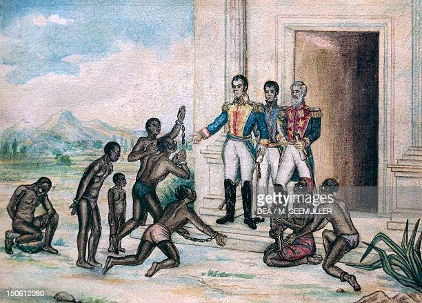Simon Bolivar granting freedom to slaves in 1816, watercolour on paper by Cancino Fernandez Luis . Venezuela, 19th century.