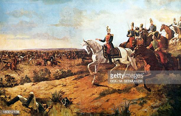 Simon Bolivar heading his army at the Battle of Junin, August 5, 1824. Peruvian War of Independence, Peru, 19th century.