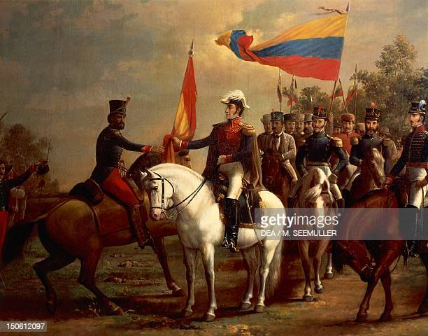 Simon Bolivar honoring the flag after the Battle of Carabobo, June 24 by Arturo Michelena ,1883. Detail. Spanish-American wars of independence,...