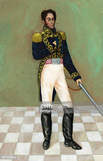 Simon Bolivar , South American General and liberator. Painting by Gil, hanging in the Federal Palace of Venezuela. Undated illustration.