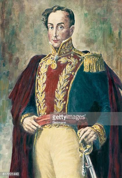 Simon Bolivar , South American liberator. He is shown from the waist up, wearing a red coat, and has a sword hanging from his waist. Undated portrait...